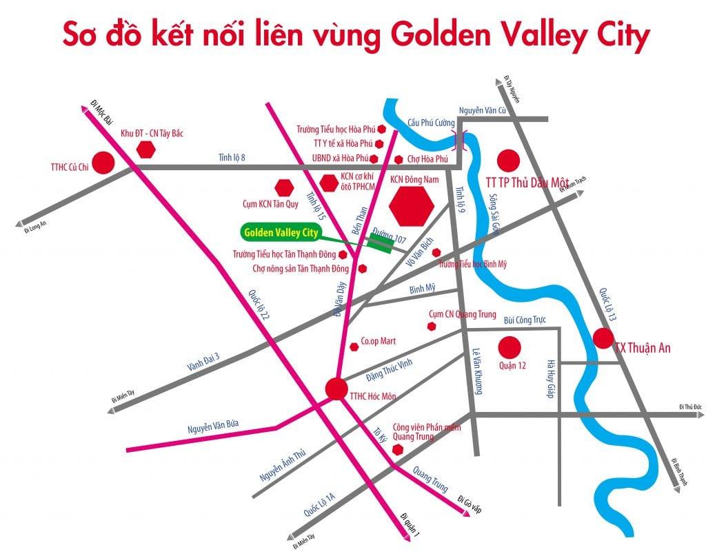 vị trí dự án golden valley city củ chi