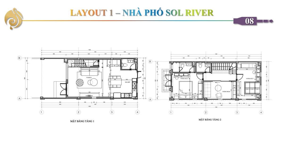 Thiết Kế Tầng 1 - 2 Nhà Phố Sol River The Sol City Long An