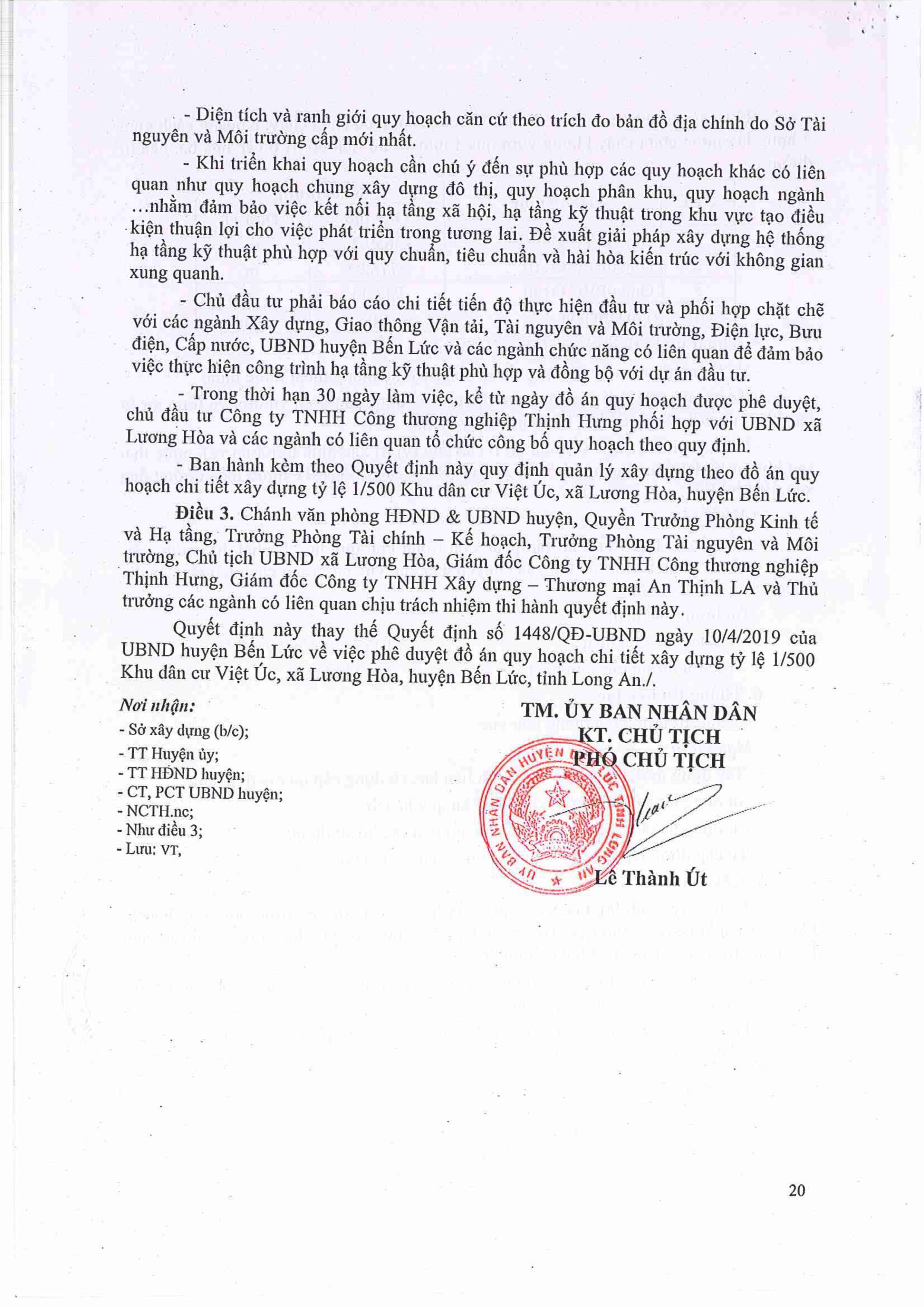 Quy Hoạch Chi Tiết 1/500 Dự án Vietuc Varea Long An